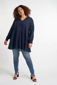 MS Mode semi-transparante geweven tuniek met volant donkerblauw, Donkerblauw