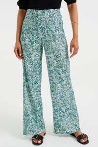 WE Fashion high waist loose fit broek van gerecycled polyester mintgroen, Mintgroen