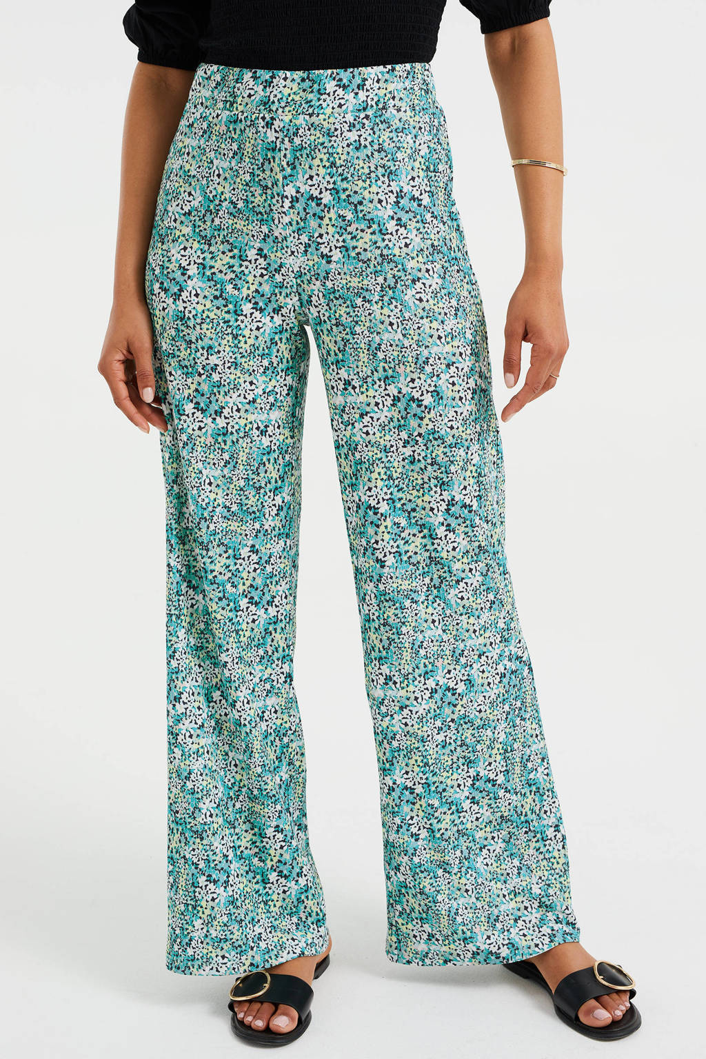 WE Fashion high waist wide leg pantalon van gerecycled polyester mintgroen, Mintgroen