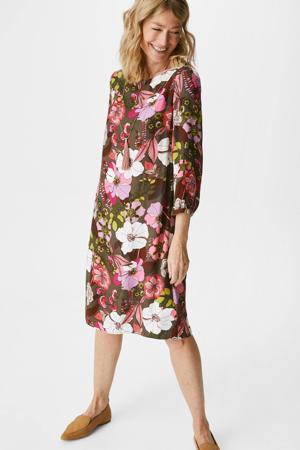 gebloemde jurk kaki/roze