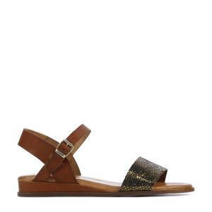 79370  leren sandalen cognac/goud