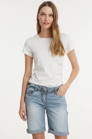 gestreepte straight fit bermuda jeans Scarlett lichtblauw
