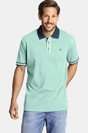 oversized polo ISFRIED Plus Size met contrastbies turquoise