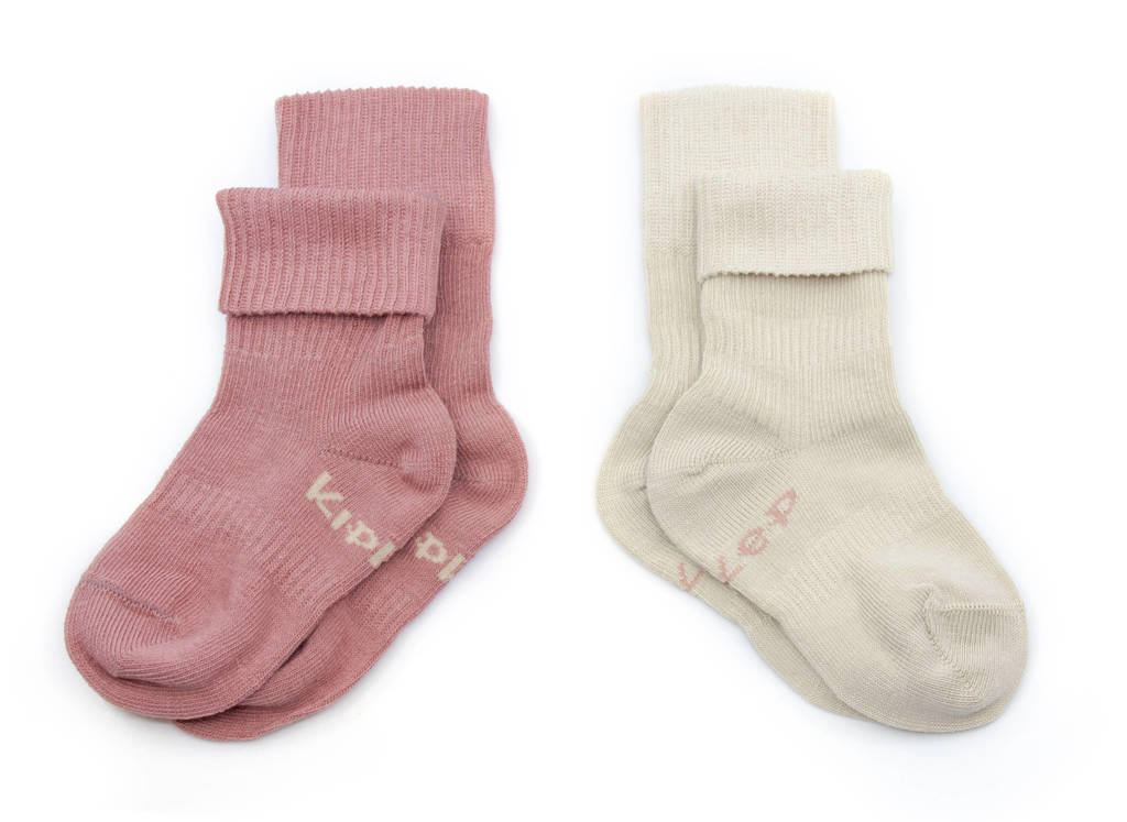 KipKep bio blijf-sokjes - set van 2 12-18 mnd dusty clay/beige, Vergrijsd roze/beige