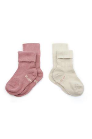 bio blijf-sokjes - set van 2 12-18 mnd dusty clay/beige