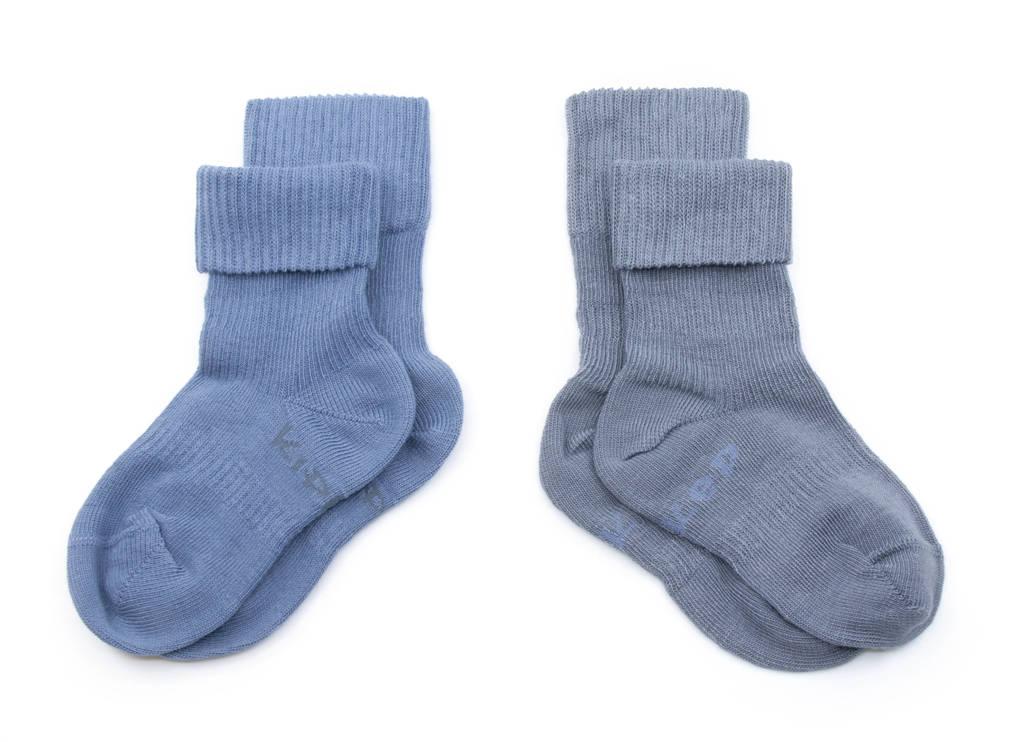 KipKep bio blijf-sokjes - set van 2 12-18 mnd denim blue, donkerblauw/donkergrijs