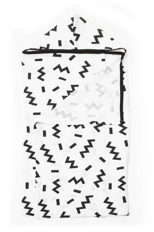 KipKep hydrofiele badcape Blenker 70x100 cm white Memphis/zwart, Wit/zwart