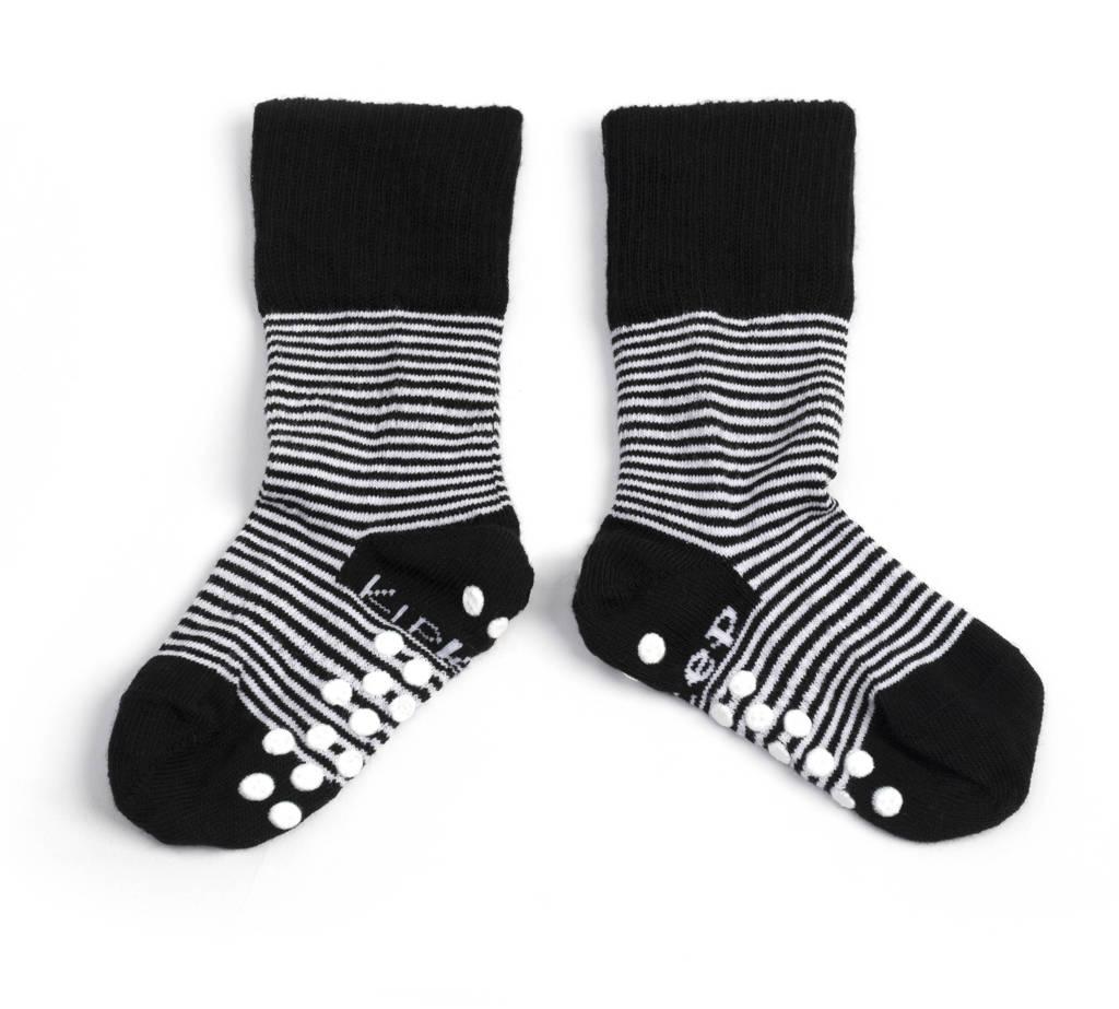 KipKep anti-slip blijf-sokjes 12-18 mnd zwart gestreept, Zwart/wit