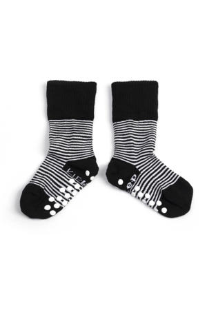 anti-slip blijf-sokjes 12-18 mnd zwart gestreept