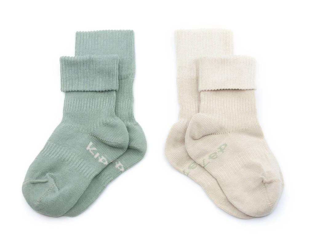 KipKep bio blijf-sokjes - set van 2 12-18 mnd calming green/beige, Groen/beige