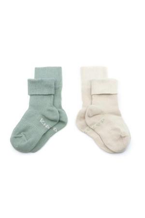 bio blijf-sokjes - set van 2 12-18 mnd calming green/beige