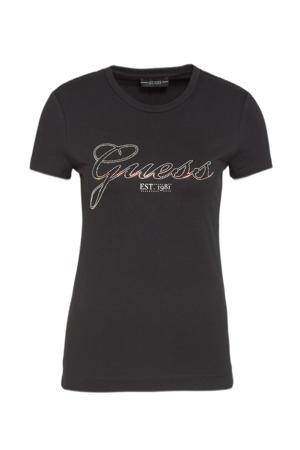 T-shirt SELINA met strass steentjes zwart