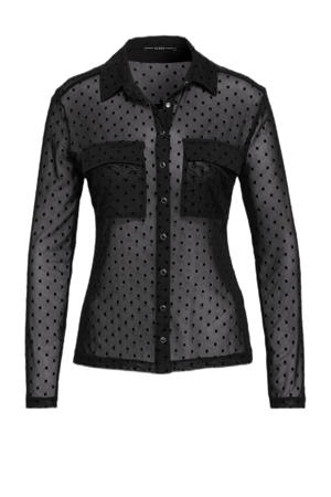 blouse met stippen en textuur zwart