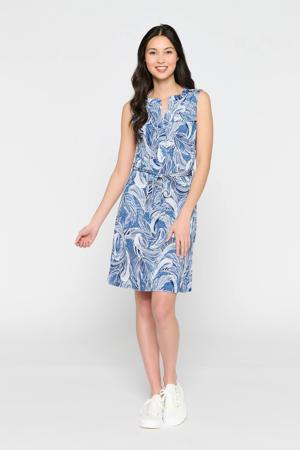 jurk met all over print en ceintuur blauw/wit