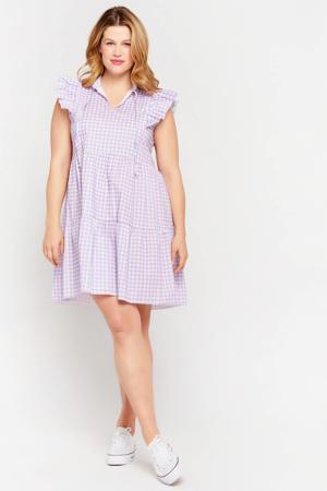 geruite jurk lila/wit