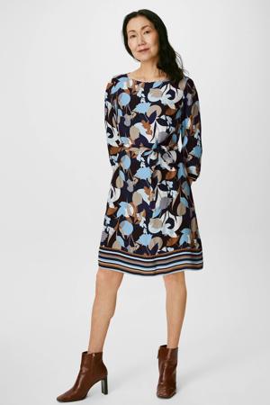 jurk met all over print en ceintuur blauw