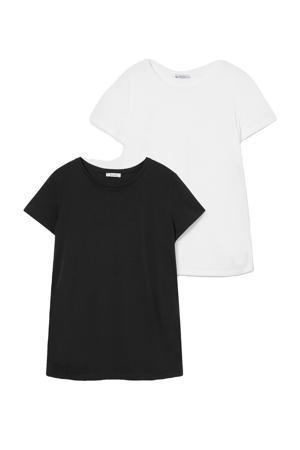 zwangershapsshirt - set van 2 zwart/wit