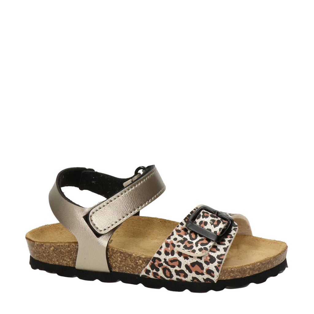 Nelson Kids   sandalen met panterprint goud, Goud