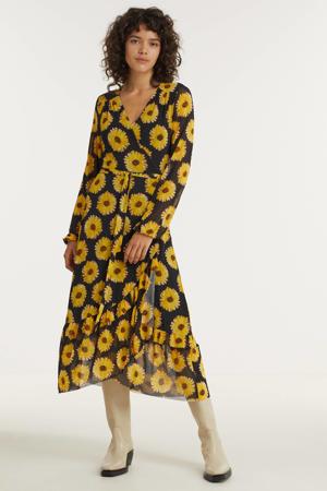 gebloemde wikkeljurk Natasja van gerecycled polyester zwart/geel
