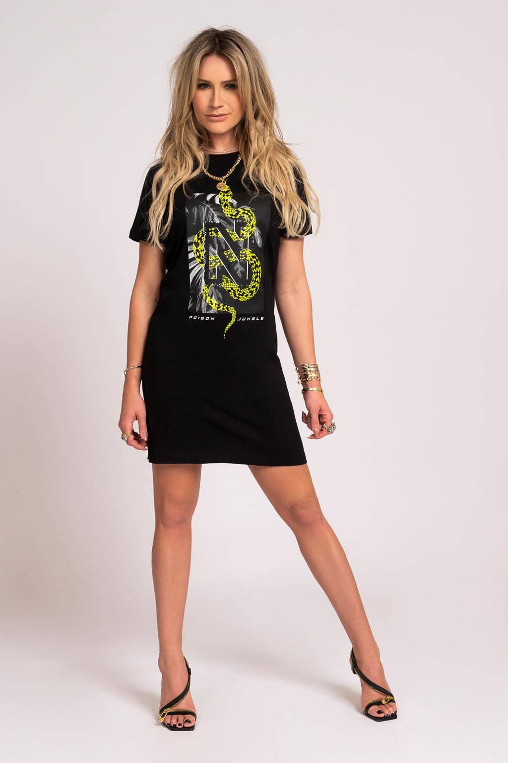 NIKKIE T-shirtjurk N Snake met printopdruk zwart, Zwart