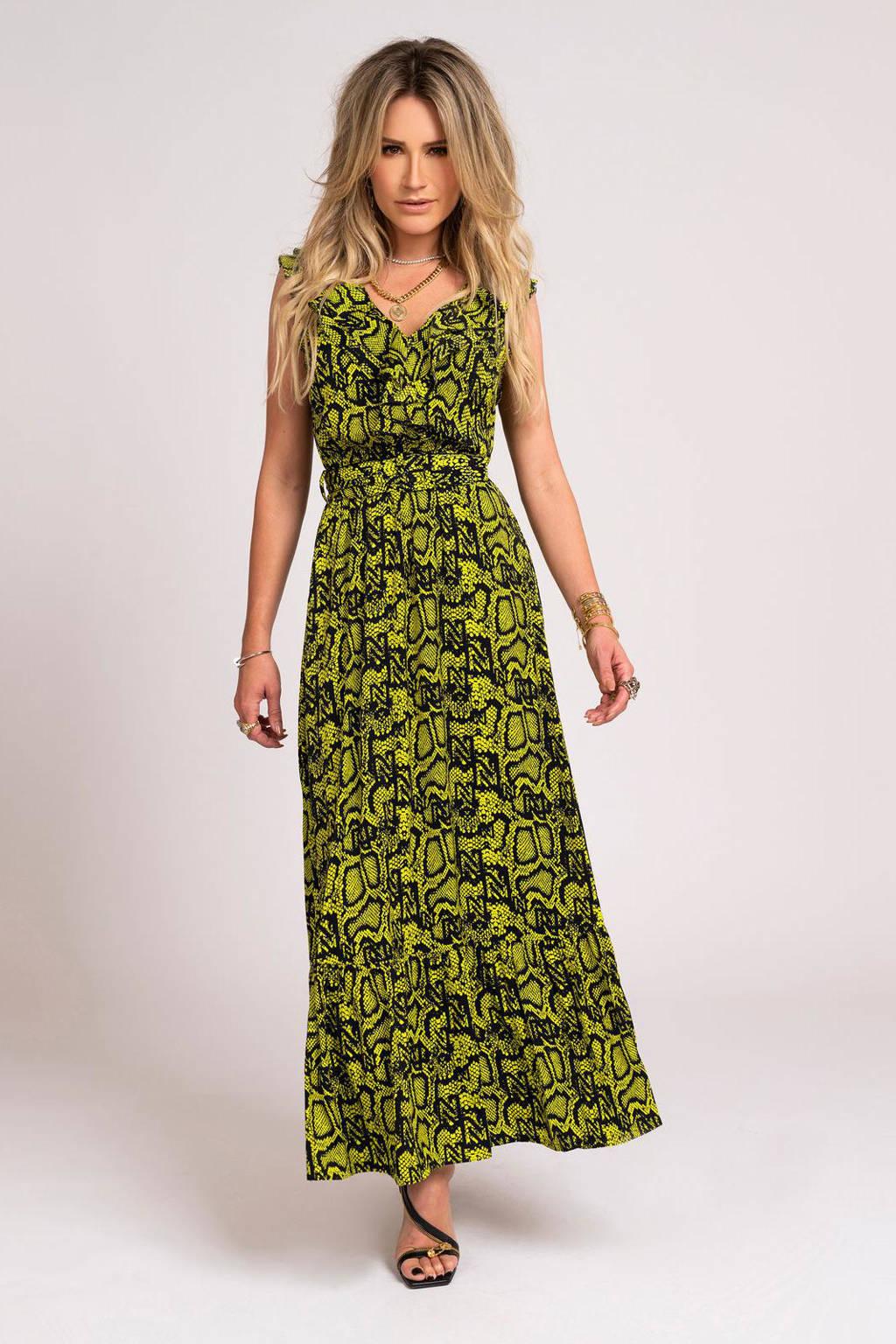 NIKKIE maxi jurk Snakey met slangenprint donkergroen, Donkergroen