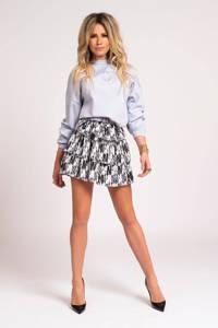 NIKKIE sweater Punta met logo en borduursels lichtblauw, Lichtblauw