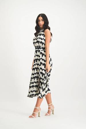 halter A-lijn jurk Renate met all over print en plooien zwart/ wit