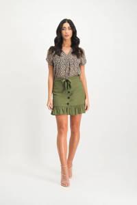 Lofty Manner gebloemde semi-transparante blouse Yoana groen/ roze, Groen/ roze