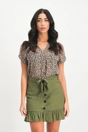 gebloemde semi-transparante blouse Yoana groen/ roze