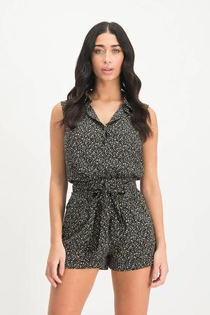 gebloemde high waist wide leg korte broek Savannah zwart/ roze