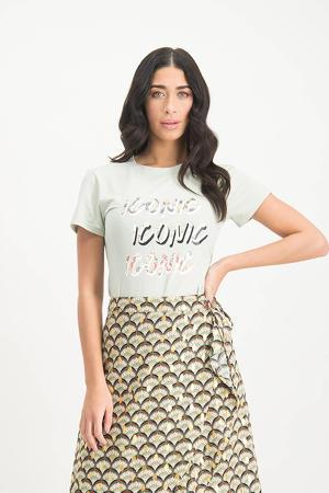 T-shirt Lauretta met printopdruk lichtgroen