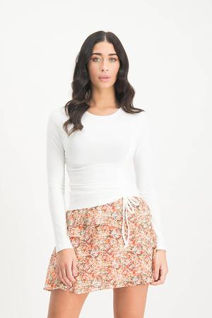 gebloemde semi-transparante mini rok Alita lichtoranje