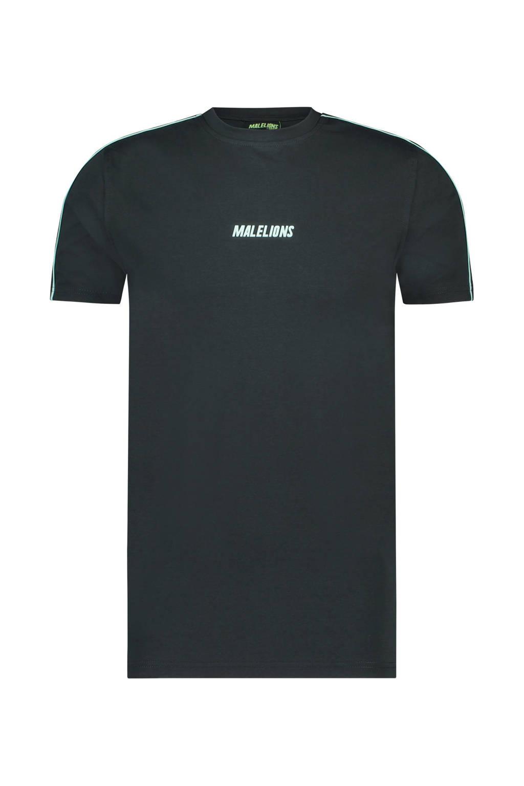 Malelions T-shirt Coach antraciet/mint, Antraciet/mintgroen