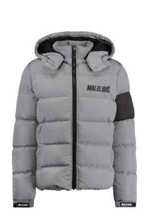 outdoor jas Captain puffer met logo lichtgrijs