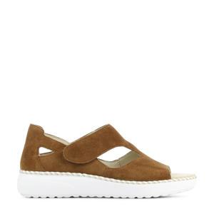 731802 comfort suède sandalen bruin