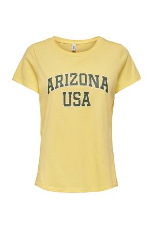 T-shirt ONLARIZ met tekst geel