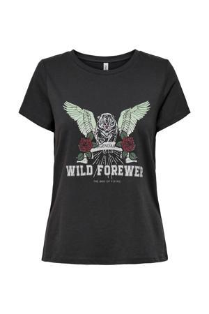 T-shirt ONLWILD met printopdruk zwart