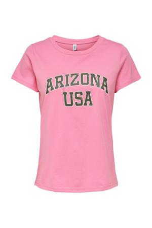 T-shirt ONLARIZ met tekst roze