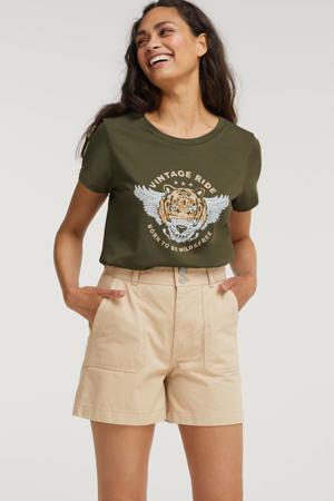 T-shirt ONLWILD met printopdruk groen