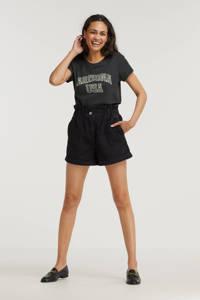 ONLY T-shirt ONLARIZ met tekst zwart, Zwart