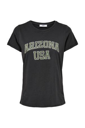 T-shirt ONLARIZ met tekst zwart