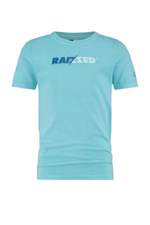 T-shirt Humberto met logo pastel blauw