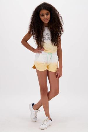 dip-dye T-shirt Alexandria pastel geel/wit