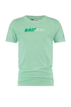 T-shirt Humberto met logo pastel groen