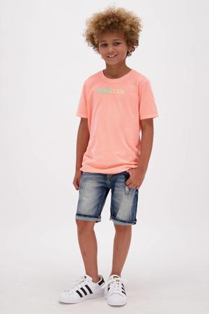 T-shirt Humberto met logo pastel perzik
