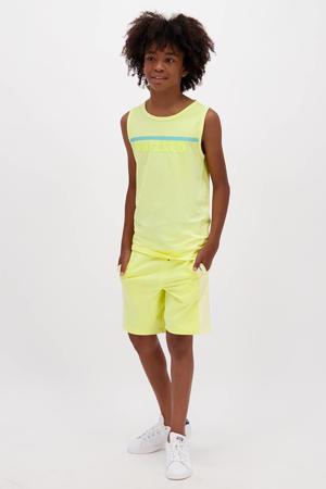 mouwloos T-shirt Hidalgo met logo pastel geel