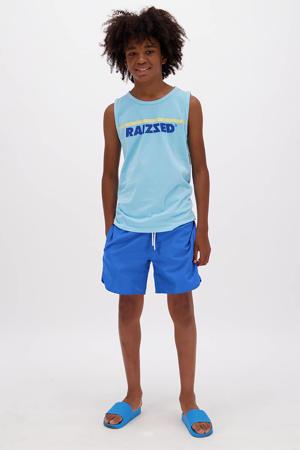 mouwloos T-shirt Hidalgo met logo pastel blauw