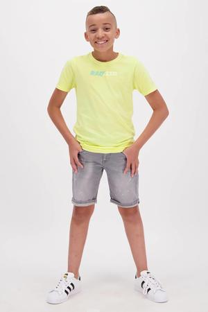 T-shirt Humberto met logo pastel geel