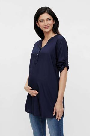 zwangerschaps- en voedingstuniek Mercy met ceintuur donkerblauw