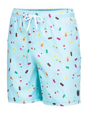 zwemshort Dray met ijsjes print lichtblauw